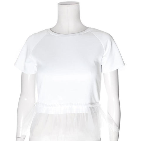 Plus Size Tulle Trim Structured Tee, White