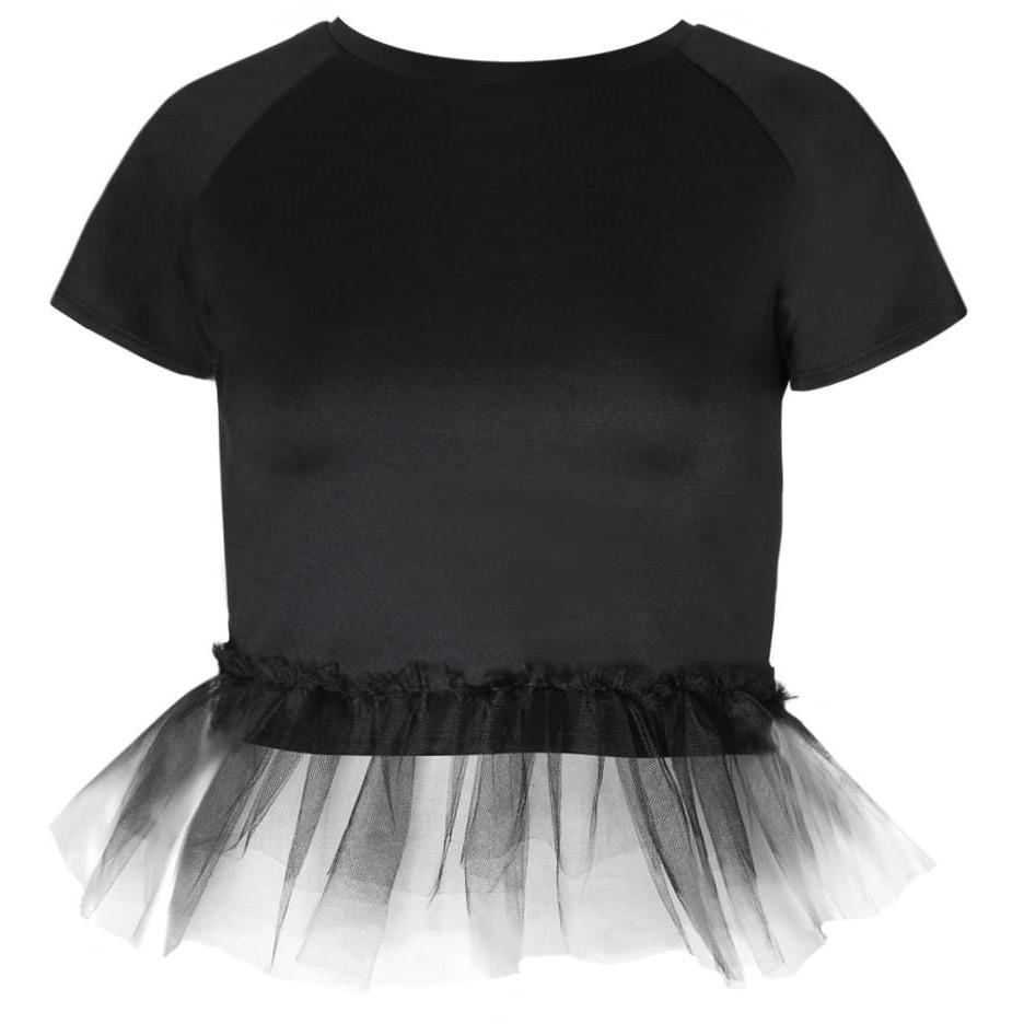 Posh Shoppe: Plus Size Tulle Trim Structured Tee, Black Tops