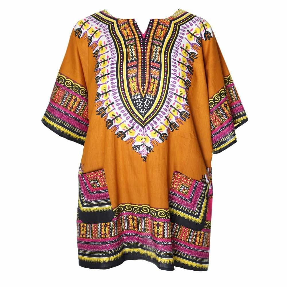 Plus Size Printed Tunic Top & Cover Up, Burnt Gold