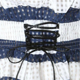 Plus Size Off Shoulder Sheer Gingham Top, White and Navy