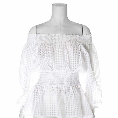 Plus Size Off Shoulder Sheer Gingham Top, White