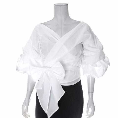 Plus Size Off the Shoulder Wrap Around Blouse, White
