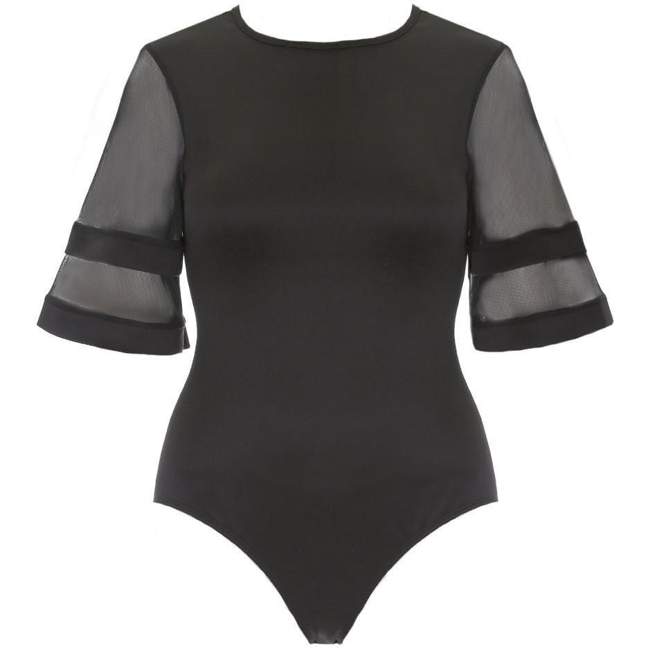 Plus Size Sheer Sleeved Bodysuit, Black
