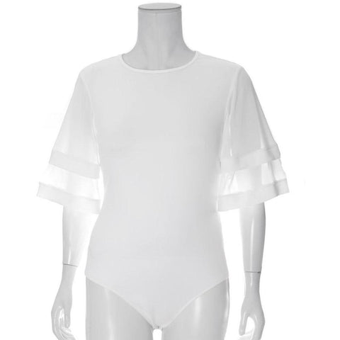 Plus Size Sheer Sleeved Bodysuit, White