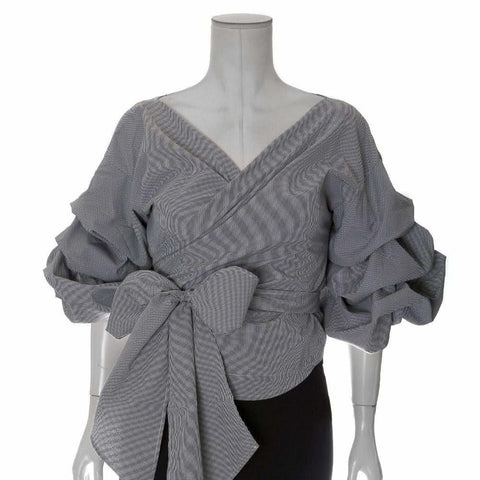 Plus Size Off the Shoulder Wrap Around Blouse, Black and White Gingham