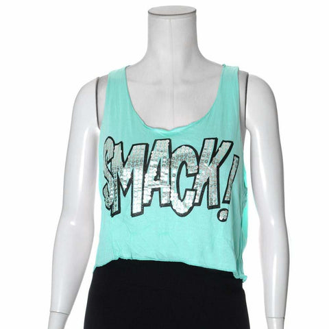 Plus Size Cropped Workout Tank, Mint Blue