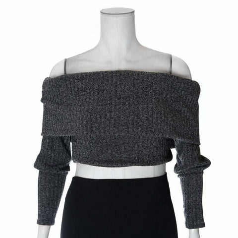 Plus Size Cropped Ribbed Sweater, Heather Gray
