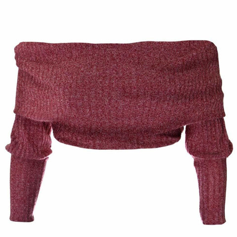 Plus Size Cropped Ribbed Sweater, Maroon