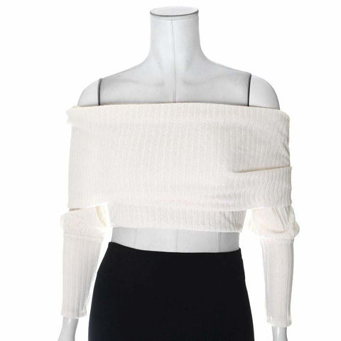 Plus Size Cropped Ribbed Sweater, Ivory