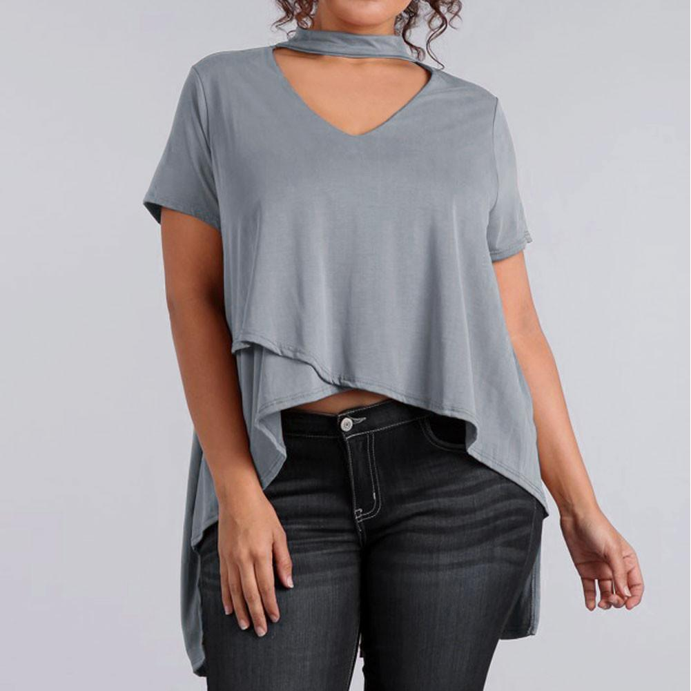 Posh Shoppe: Plus Size Choker Swing Top, Dove Gray Tops