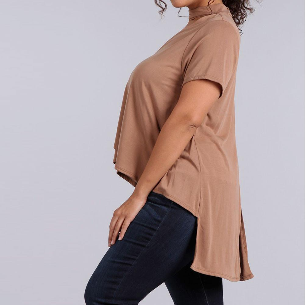 Posh Shoppe: Plus Size Choker Swing Top, Dusty Rose Tops