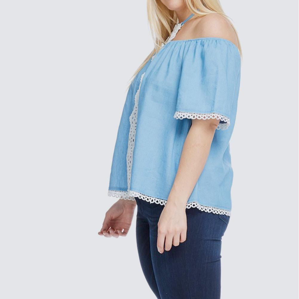 Posh Shoppe: Plus Size Lace Trim Chambray Top Dress