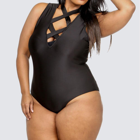 Plus Size Cross Front Bodysuit, Black