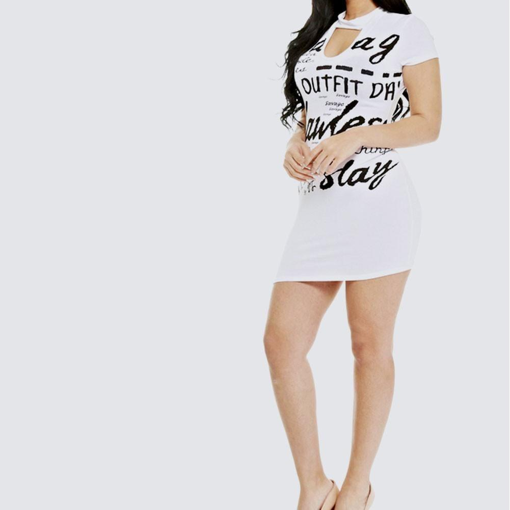 Posh Shoppe: Plus Size Keyhole Front Graphic Long Tee, White Tops