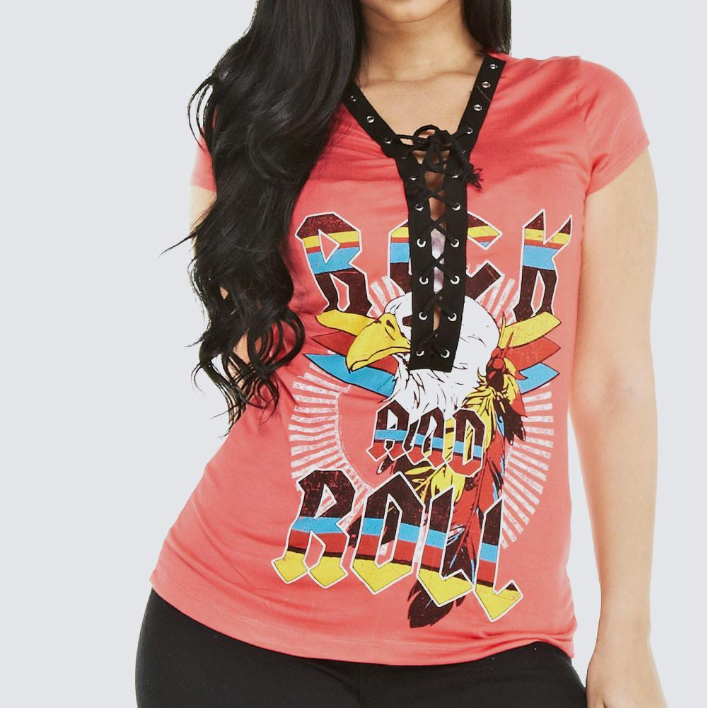 Posh Shoppe: Plus Size 'ROCK' Lace Up Tee, Coral Tops