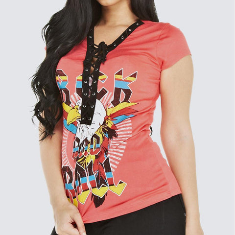 Plus Size 'ROCK' Lace Up Tee, Coral