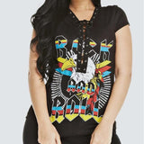 Plus Size 'ROCK' Lace Up Tee, Black