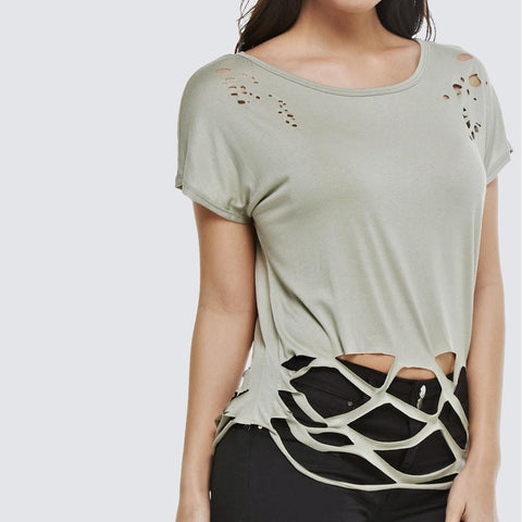 Distressed Slouchy Tee, Olive