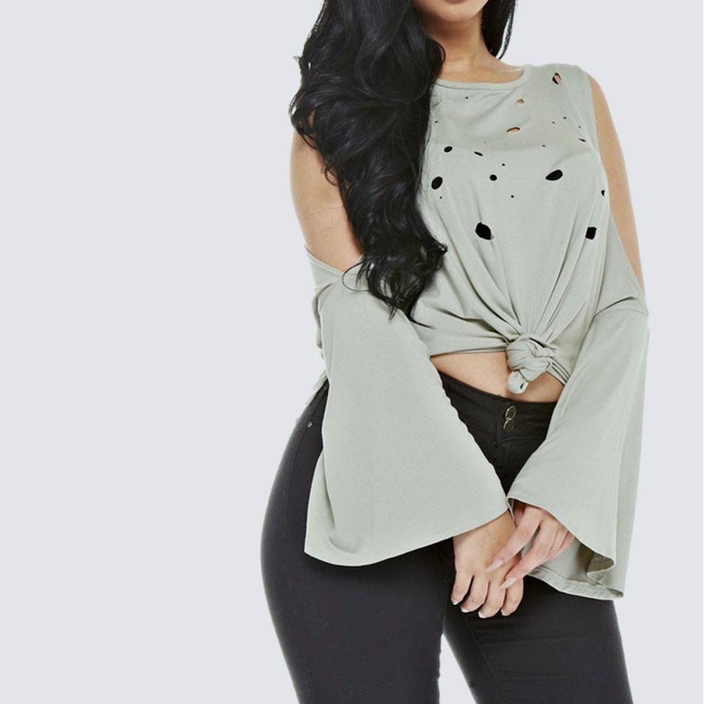 Plus Size Distressed Bell Sleeve Top, Olive