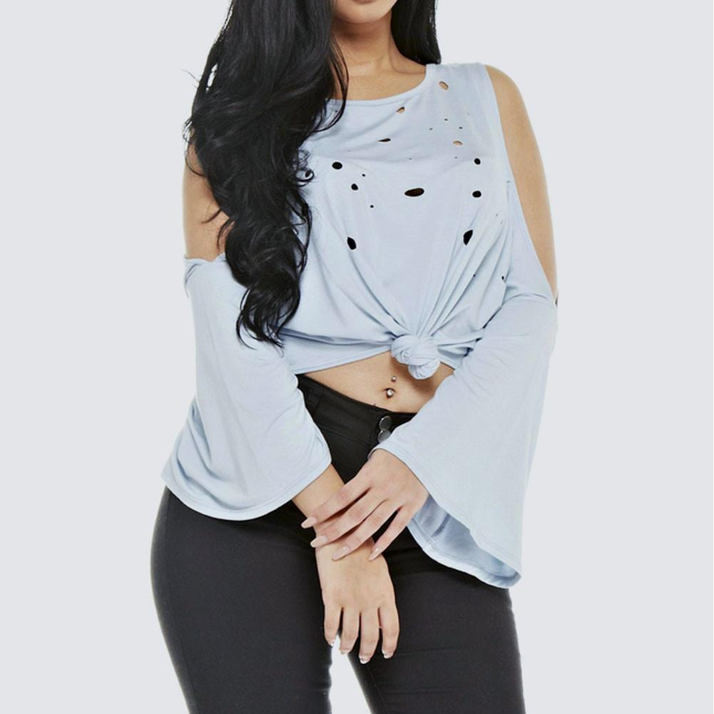 Plus Size Distressed Bell Sleeve Top, Baby Blue