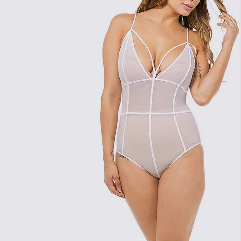 Posh Shoppe: Plus Size Sheer Cage Bodysuit, White Tops