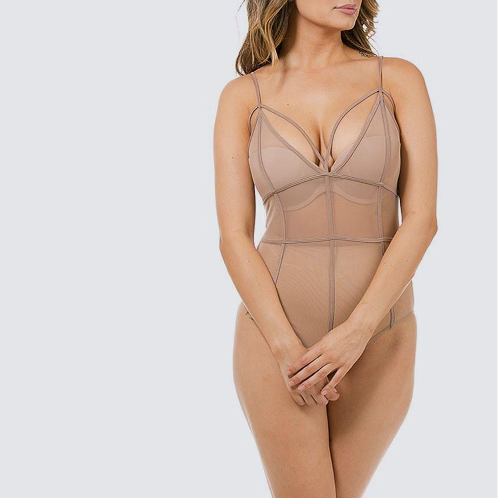 Posh Shoppe: Plus Size Sheer Cage Bodysuit, Nude Tops