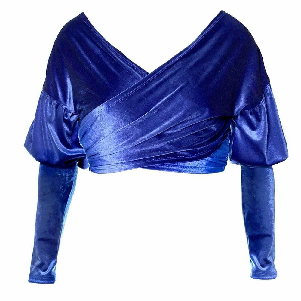 Plus Size Velvet Puff Sleeve Top, Blue