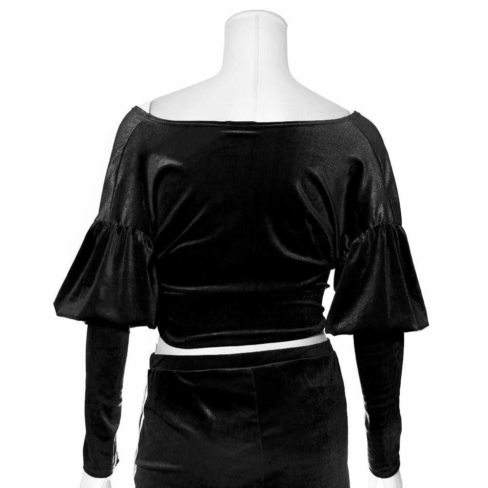 Plus Size Velvet Puff Sleeve Top, Black