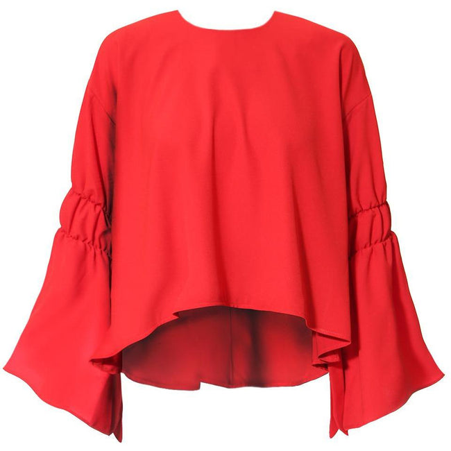 Posh Shoppe: Plus Size Tie Bell Sleeve Blouse, True Red Tops