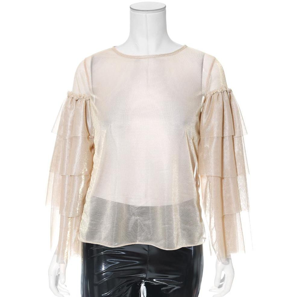 Plus Size Sheer Metallic Tiered Bell Sleeve Top, Gold