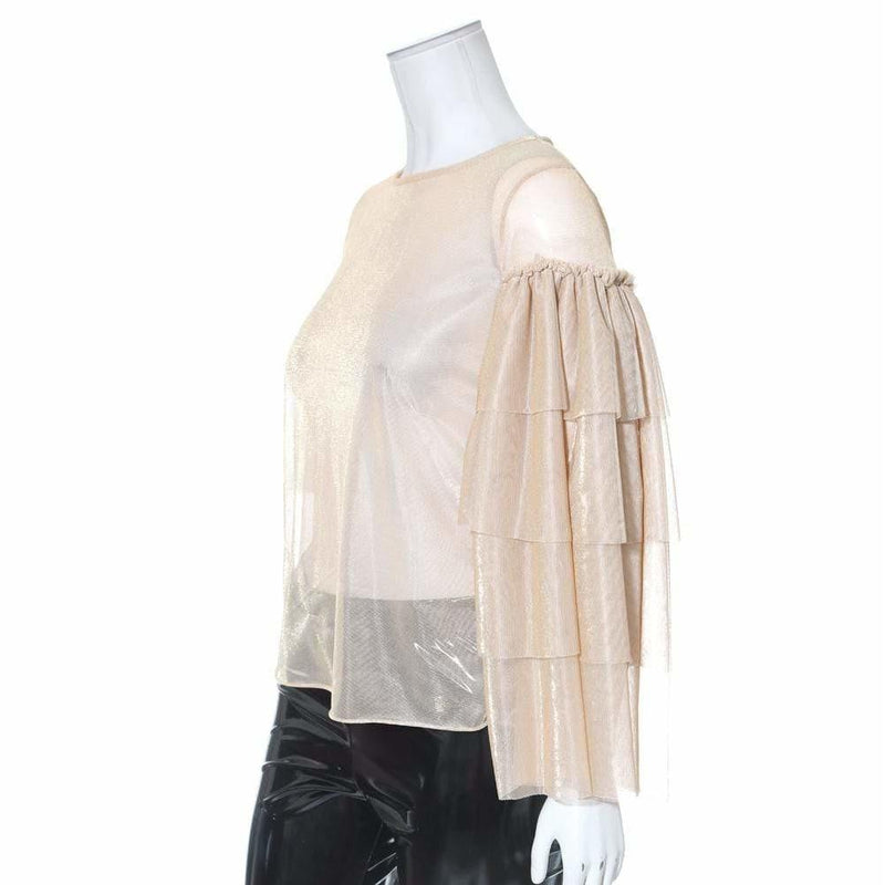 Posh Shoppe: Plus Size Sheer Metallic Tiered Bell Sleeve Top, Gold Tops