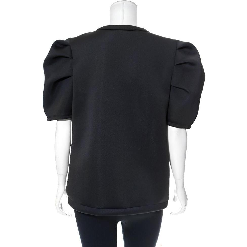 Posh Shoppe: Plus Size Puff Sleeve Oversized Scuba Top, 'Boys Lie' Sequin Patch Tops
