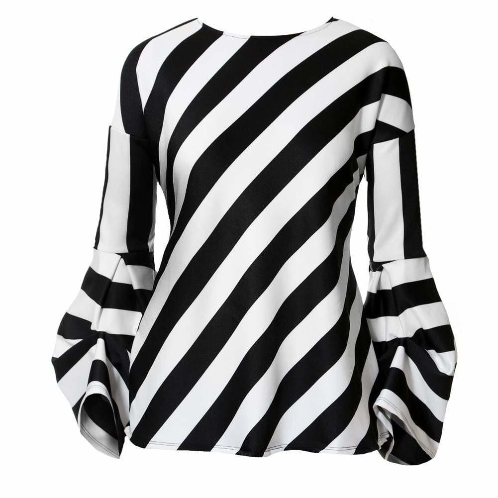 Posh Shoppe: Plus Size Bell Sleeve Striped Top Tops