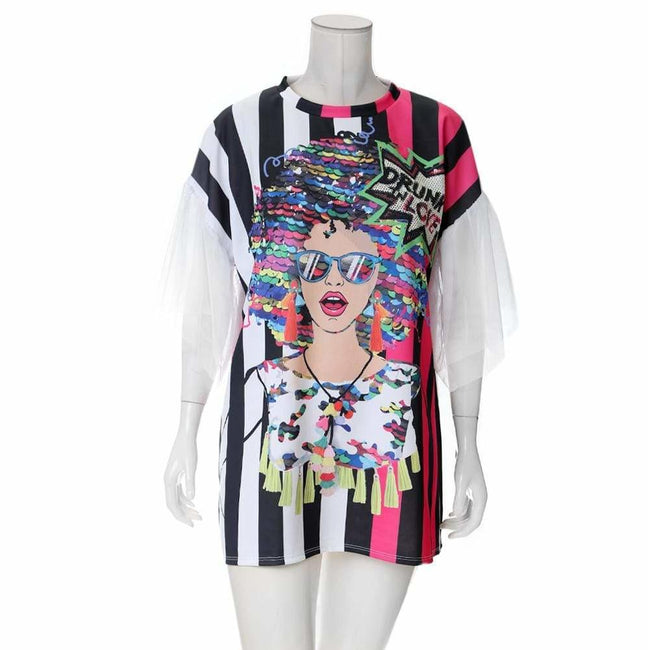 Posh Shoppe: Plus Size Oversized Tulle Sleeve Top, Drunk on Love Print Tops
