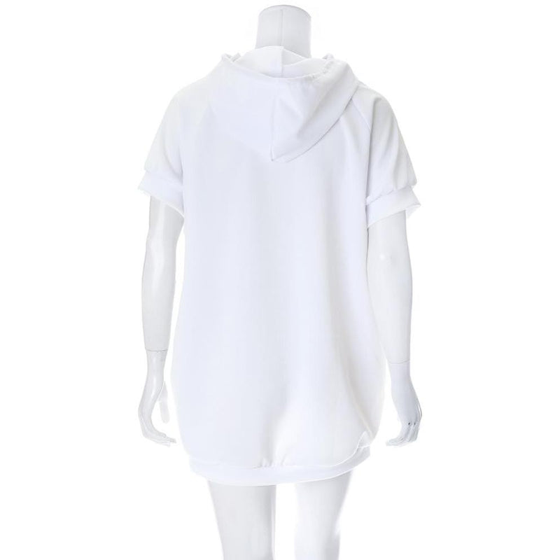Posh Shoppe: Plus Size Hoodie Dress with Pearl Embellishment Dress