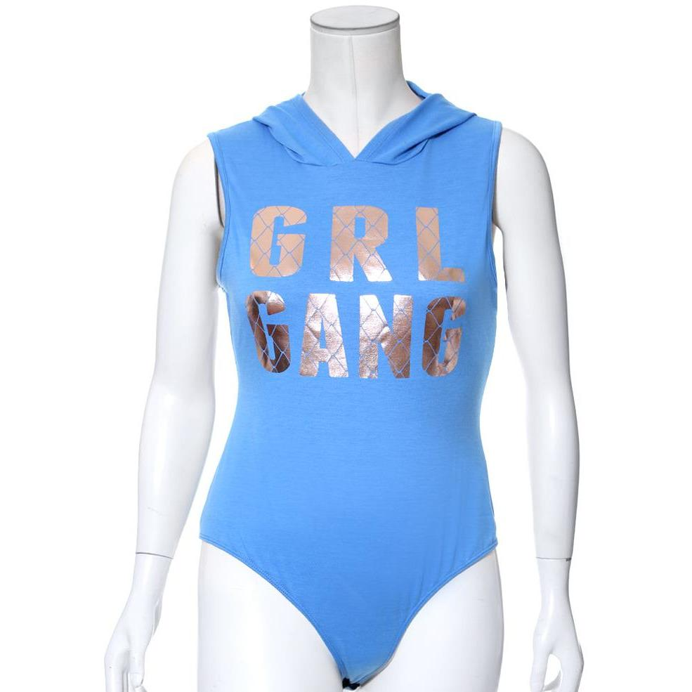 Posh Shoppe: Plus Size Bodysuit with Hood, 'GRL GANG' Tops