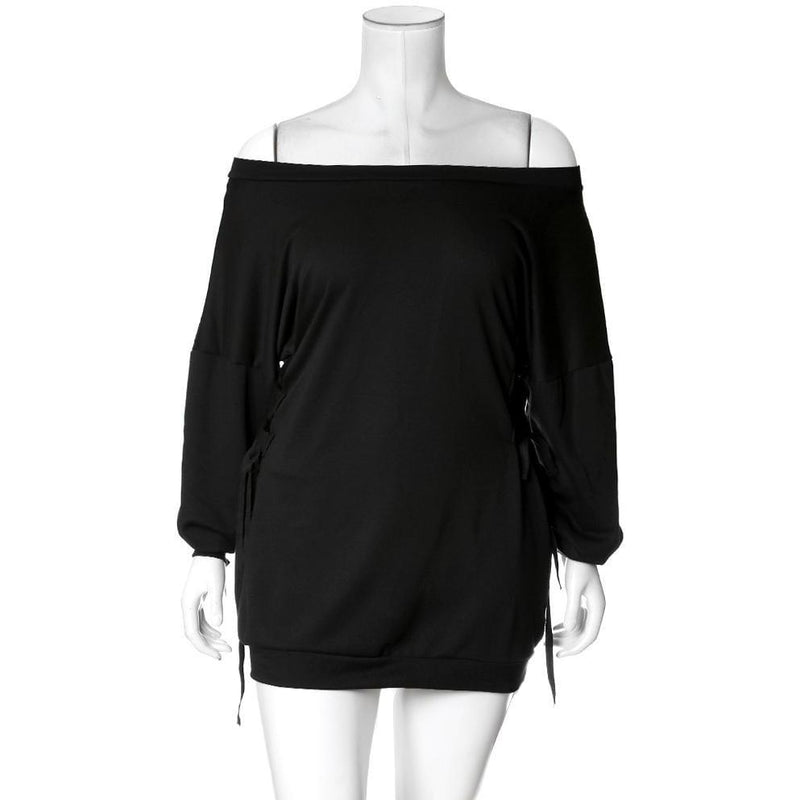 Posh Shoppe: Plus Size Cinched Waist Oversized Sweatshirt, Black Dress