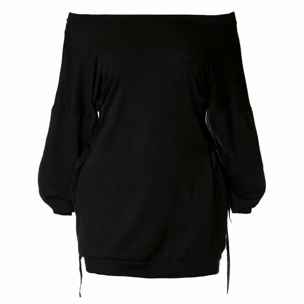 Plus Size Cinched Waist Oversized Sweatshirt, Black