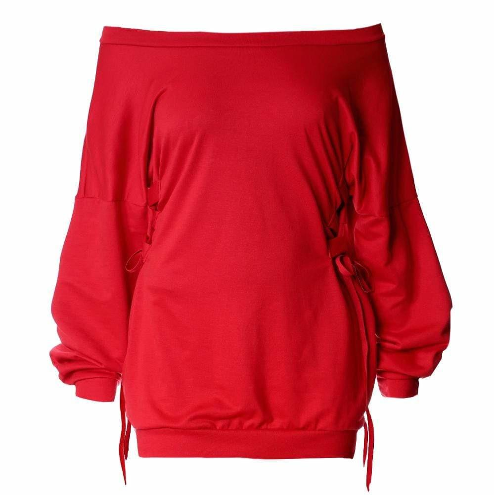 Plus Size Cinched Waist Oversized Sweatshirt, Red