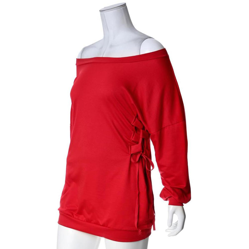 Posh Shoppe: Plus Size Cinched Waist Oversized Sweatshirt, Red Dress
