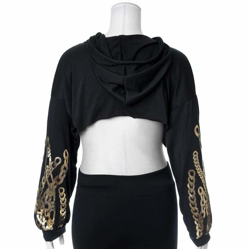 Posh Shoppe: Plus Size Chain Print Ultra Crop Top, Black Tops