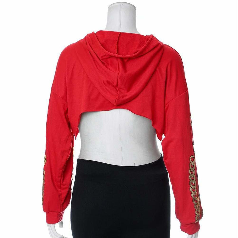 Plus Size Chain Print Ultra Crop Top, Red