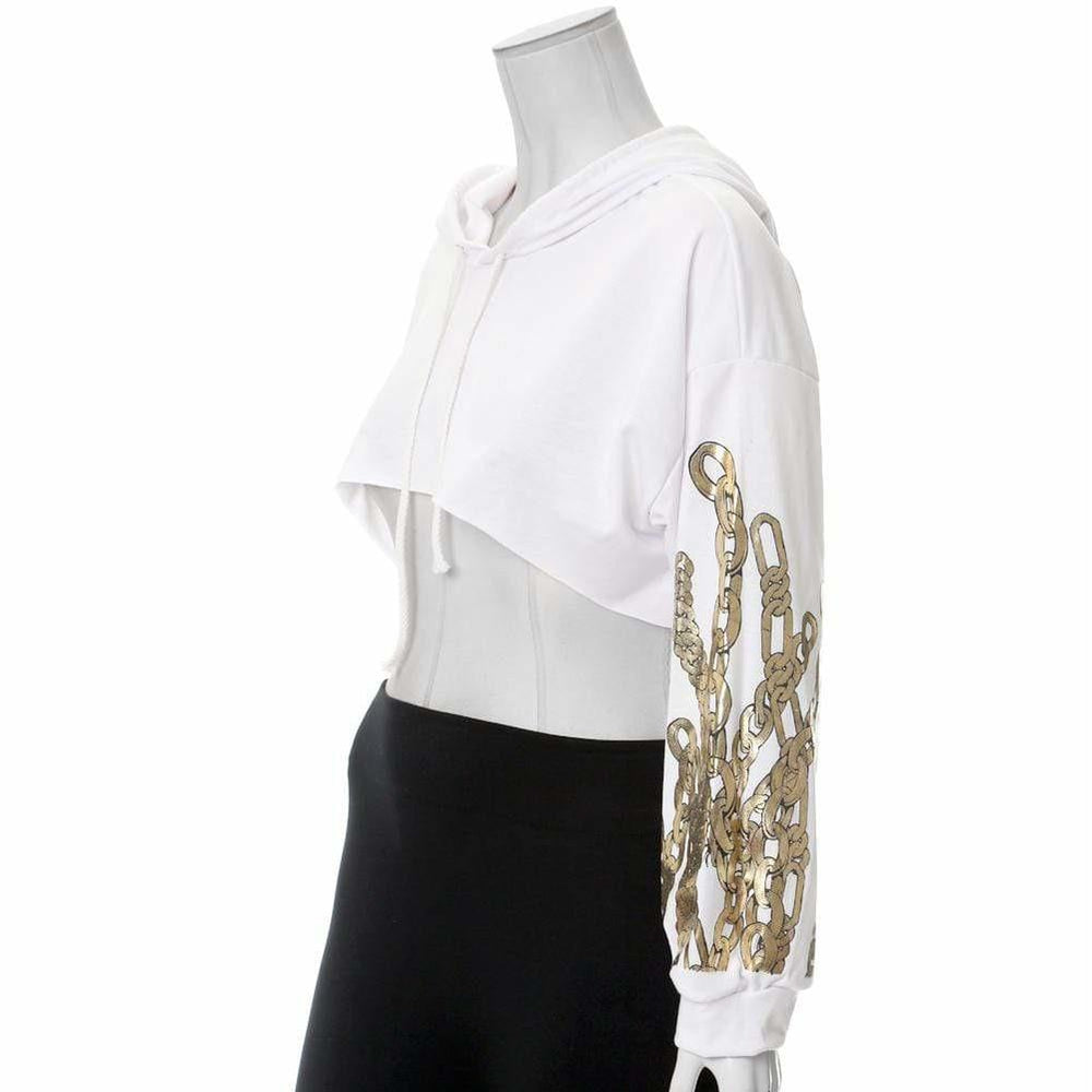 Posh Shoppe: Plus Size Chain Print Ultra Crop Top, White Tops