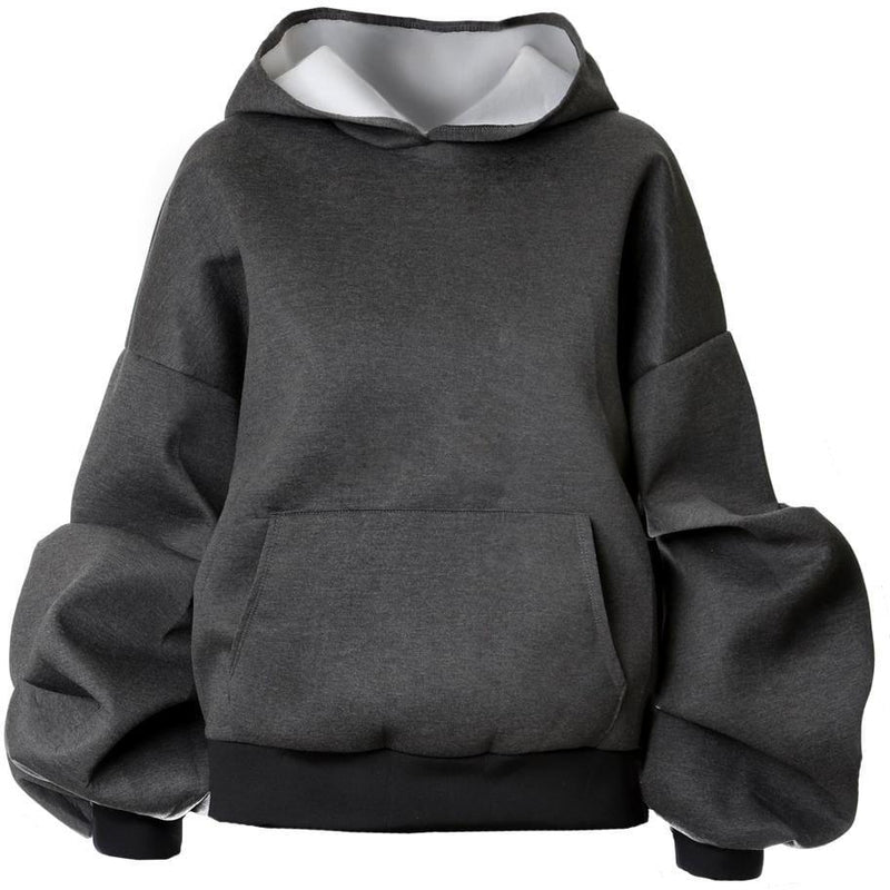 Posh Shoppe: Plus Size Oversized Hoodie, Charcoal Gray Tops