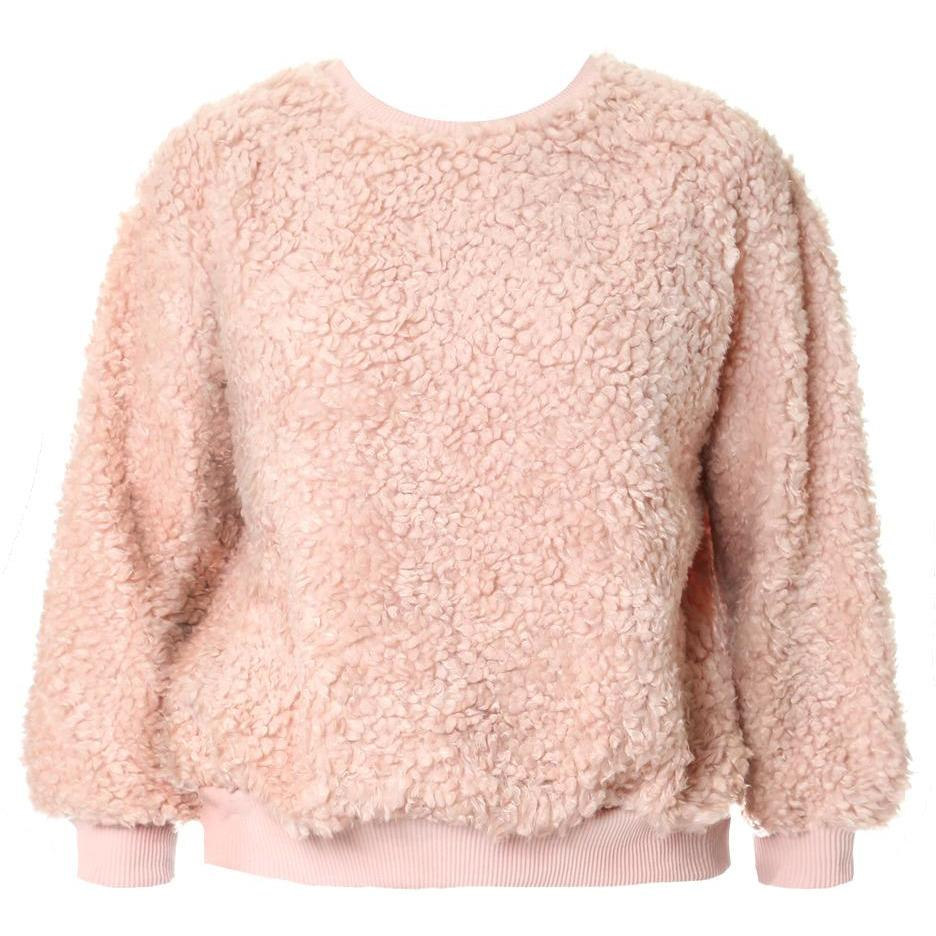 Posh Shoppe: Plus Size Wooly Sweatshirt, Blush Tops