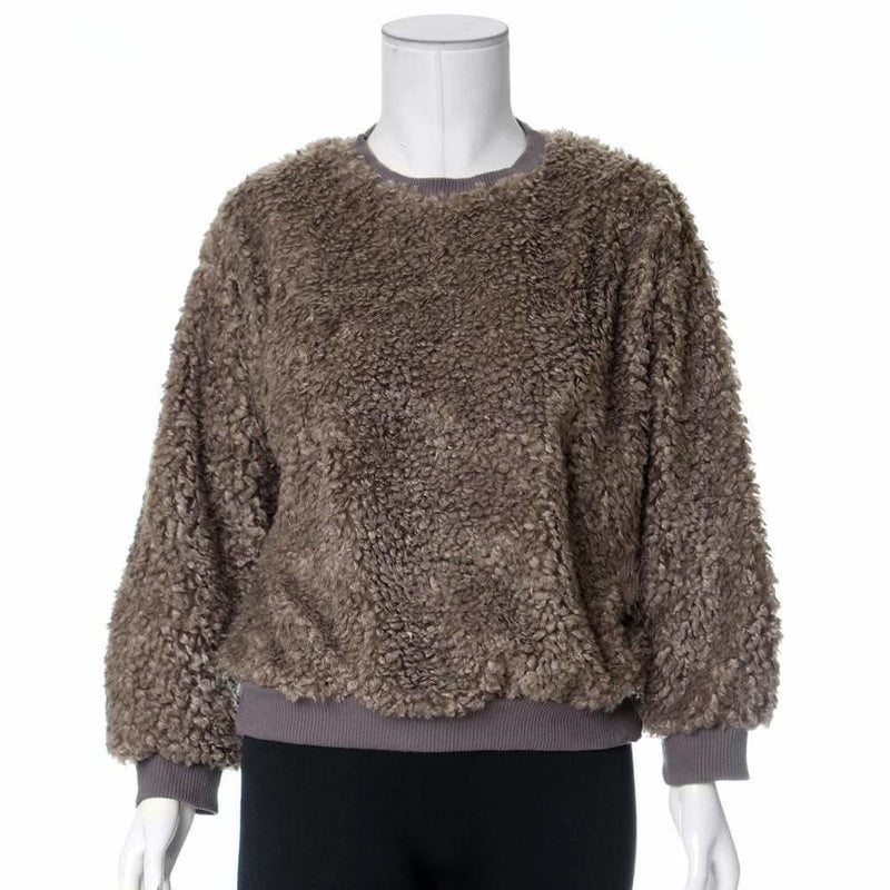 Posh Shoppe: Plus Size Wooly Sweatshirt, Mocha Tops