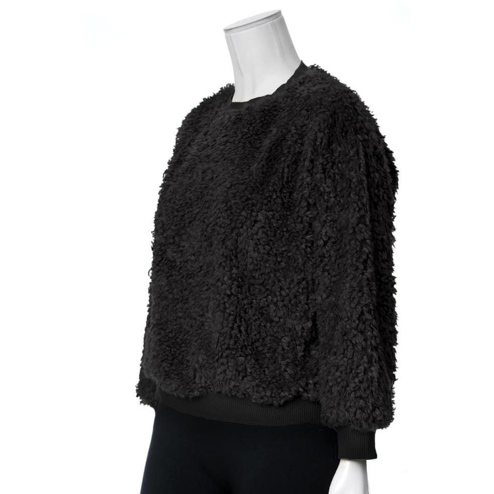 Posh Shoppe: Plus Size Wooly Sweatshirt, Black Tops