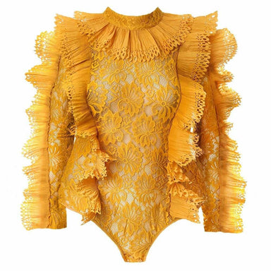 Posh Shoppe: Plus Size Luxe Lace and Ruffles Bodysuit, Mustard Tops