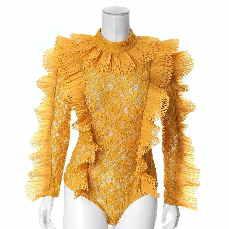 Plus Size Luxe Lace and Ruffles Bodysuit, Mustard