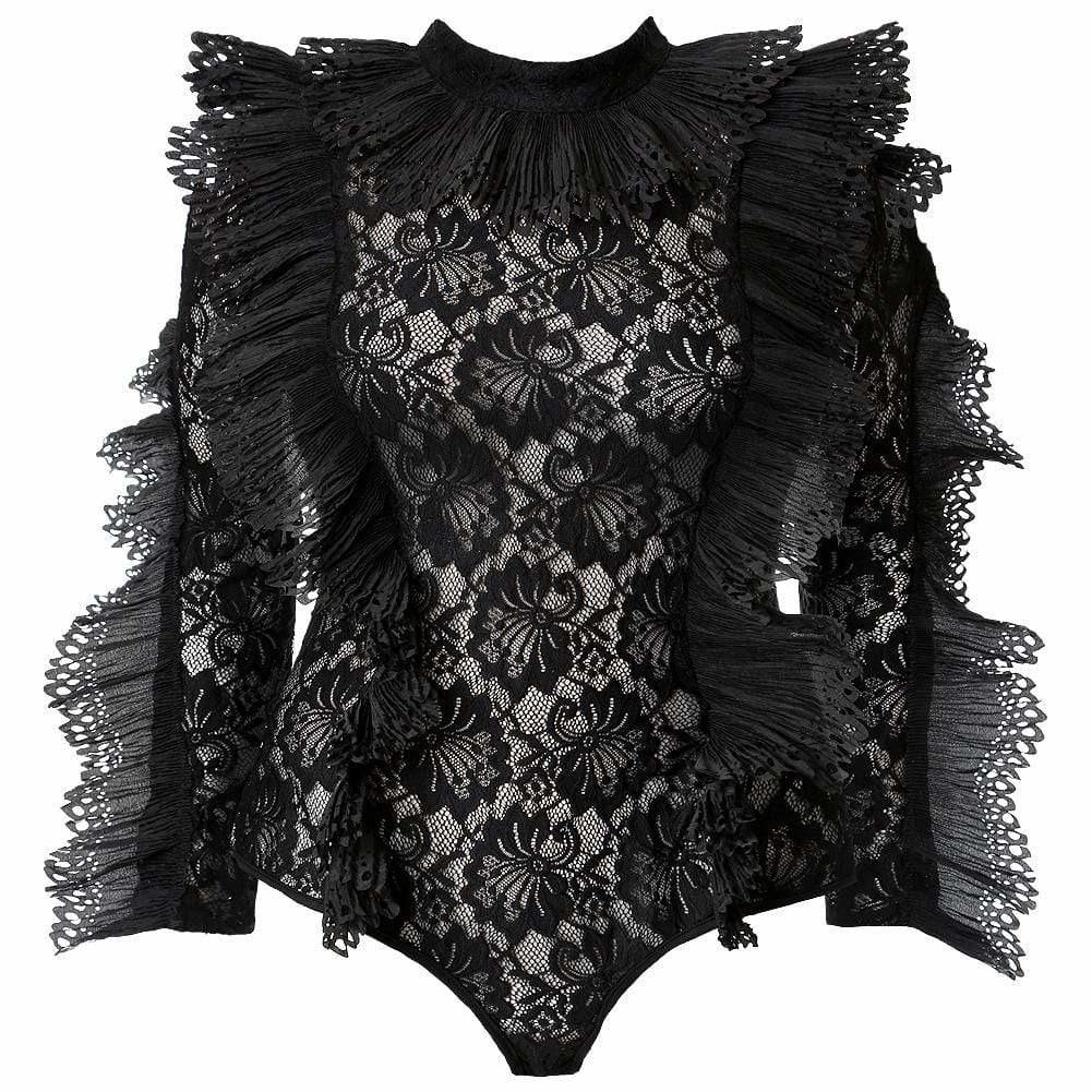 Posh Shoppe: Plus Size Luxe Lace and Ruffles Bodysuit, Black Tops